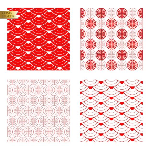 赤のシームレスな中国パターン Premiumベクター