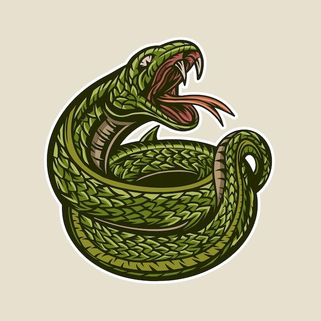 Зеленая змея иллюстрация открытый рот деталь талисман Premium векторы