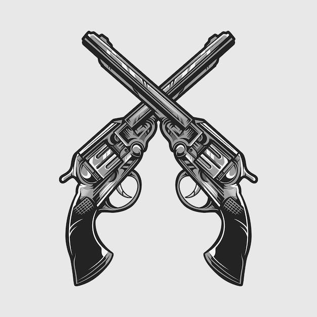 分離されたリボルバーピストル銃ベクトル図 Premiumベクター