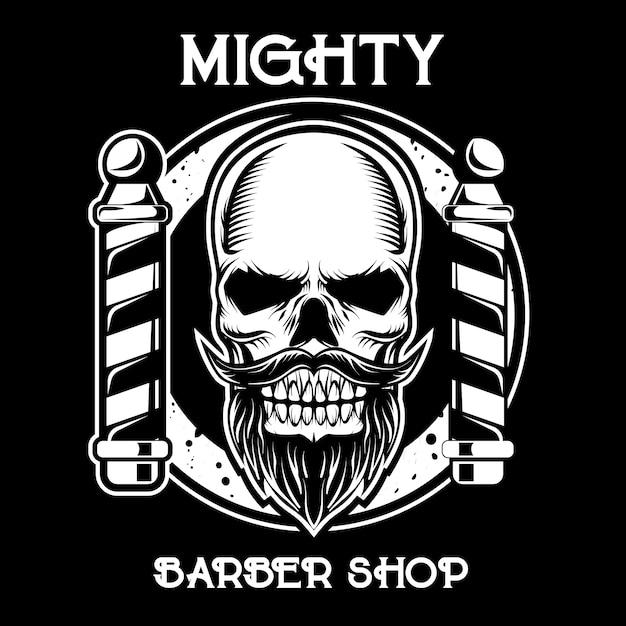 暗い背景の理髪店のロゴ Premiumベクター