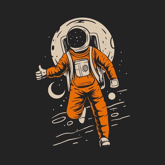 Астронавт в космосе с иллюстрацией фона планеты Premium векторы