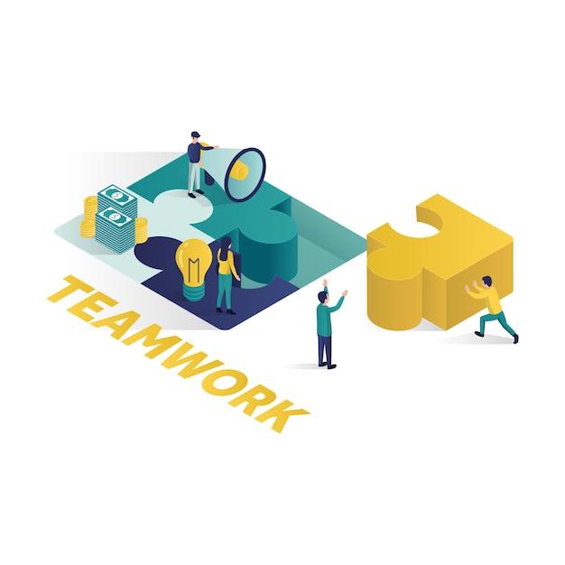 等尺性スタイルのチームワーク概念等尺性イラスト協力パートナーシップ概念図。 Premiumベクター