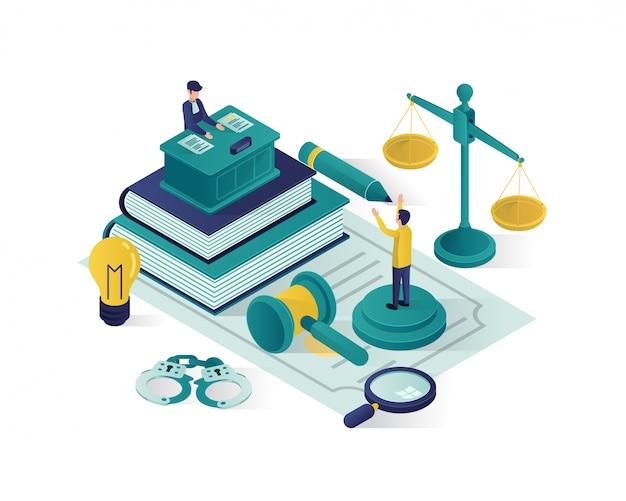 正義と法の等角投影図、法律事務所の等角投影図。 Premiumベクター
