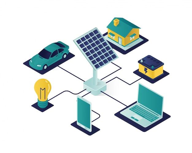 ソーラーパネルエネルギー等角投影図 Premiumベクター
