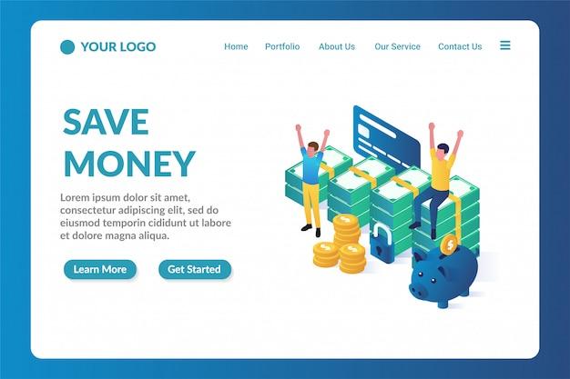 Шаблон для целевой страницы с сохранением денег Premium векторы