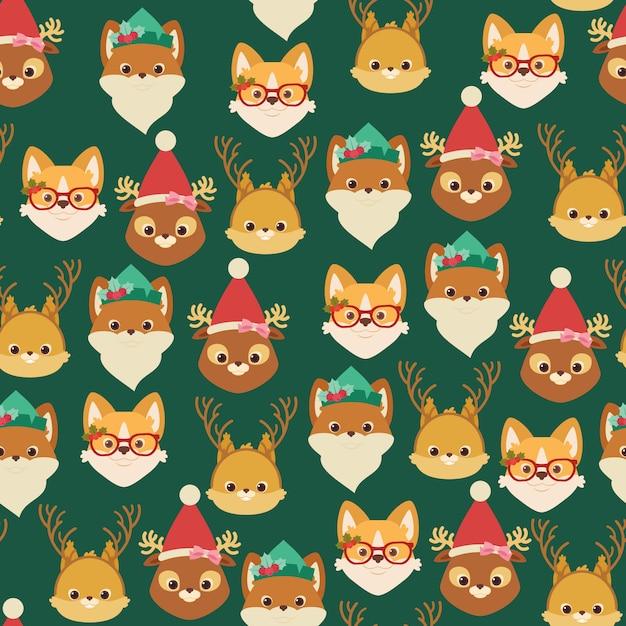 Лес / лес и домашние животные. рождественские бесшовные модели или обои Premium векторы