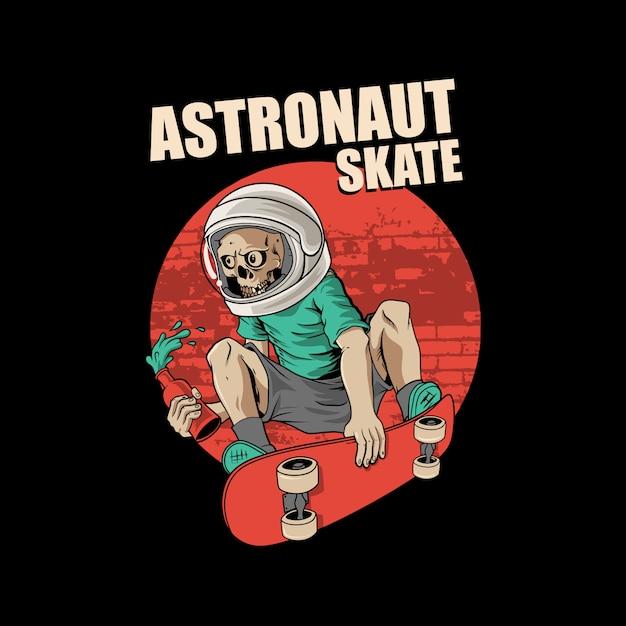 宇宙飛行士のスケートボード Premiumベクター