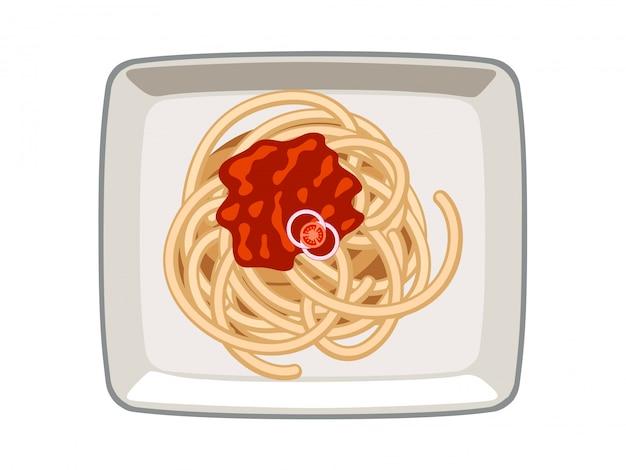 白い背景の上の皿にベクトルスパゲッティトマトソース Premiumベクター