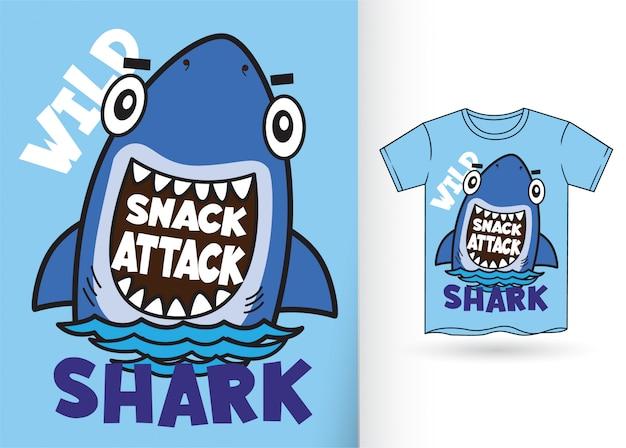Мультяшная акула для футболки Premium векторы