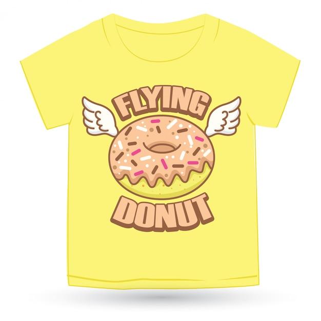 Милый пончик рисованной логотип мультфильм для футболки Premium векторы