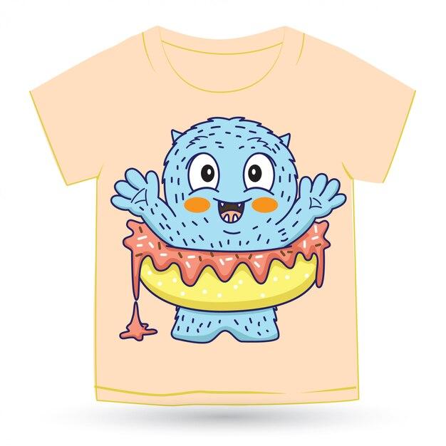 Милый монстр пончик мультфильм для футболки Premium векторы