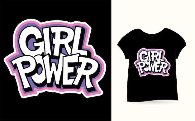 Девушка сила руки надписи на футболке Premium векторы