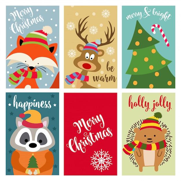 動物と願いのあるクリスマスカードコレクション Premiumベクター