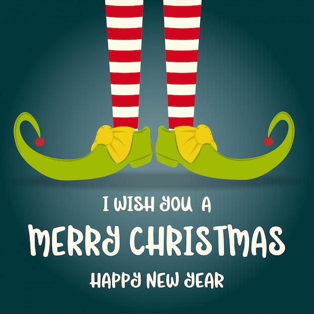 Рождественская открытка с эльфийскими ногами Premium векторы