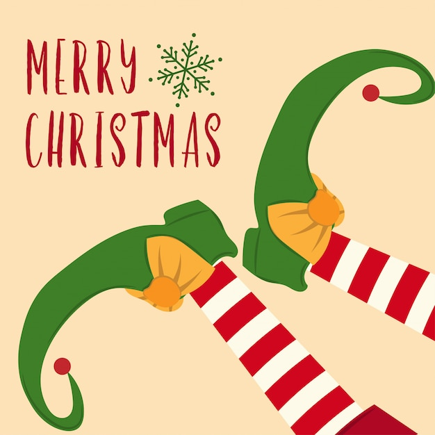 Симпатичная рождественская открытка с эльфийскими ногами Premium векторы