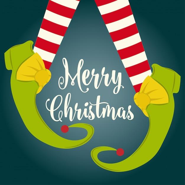 Забавная рождественская открытка с эльфийскими ногами Premium векторы