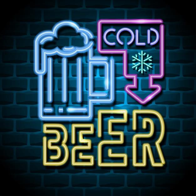冷たいビールネオン広告サイン Premiumベクター