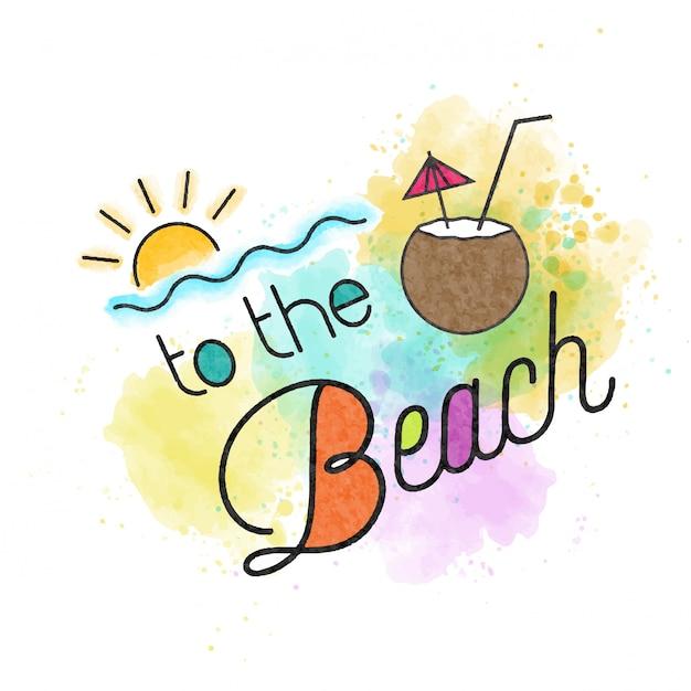 На пляж. акварель летняя надпись Premium векторы