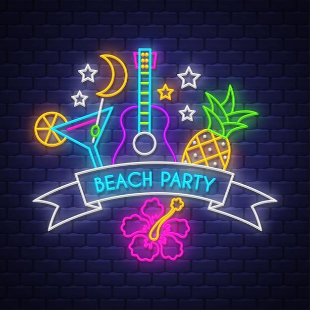 Пляжная вечеринка. неоновая вывеска Premium векторы