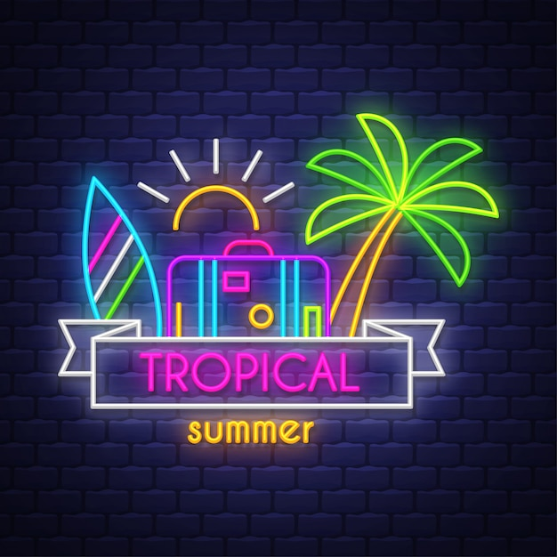 熱帯の夏。ネオンサインレタリング Premiumベクター