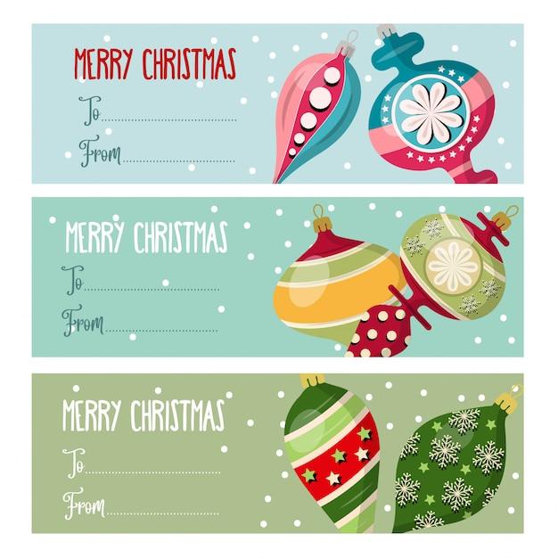 クリスマスプレゼントのクリスマスボールとラベルコレクション。 Premiumベクター