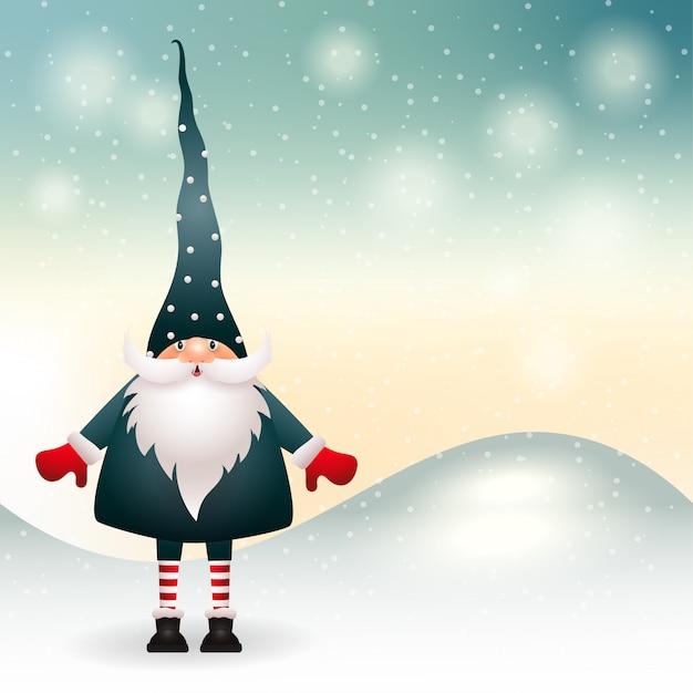 Рождественский гном в зимнем декоре. вектор Premium векторы