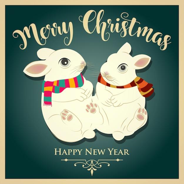 ウサギとメッセージのビンテージのクリスマスカード。印刷する。ベクター Premiumベクター