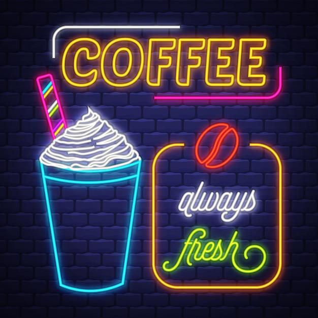 Кофе неоновая вывеска вектор. кофе неоновая вывеска на фоне кирпичной стены Premium векторы