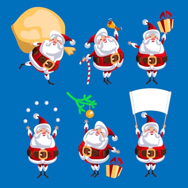 サンタ句はクリスマスのために設定されます。ベクトル図。青い背景で分離 Premiumベクター