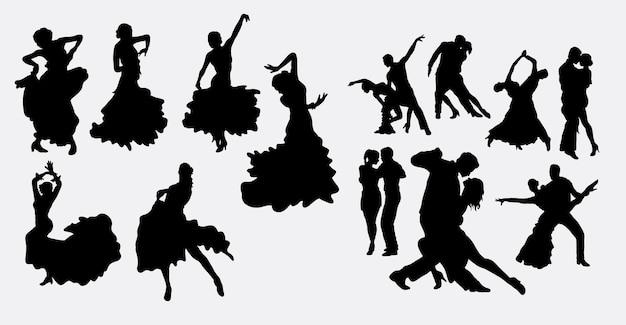 Фламенко сальса и силуэт латинского танца Premium векторы