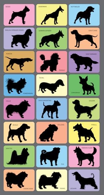 Карты силуэтов собак Premium векторы