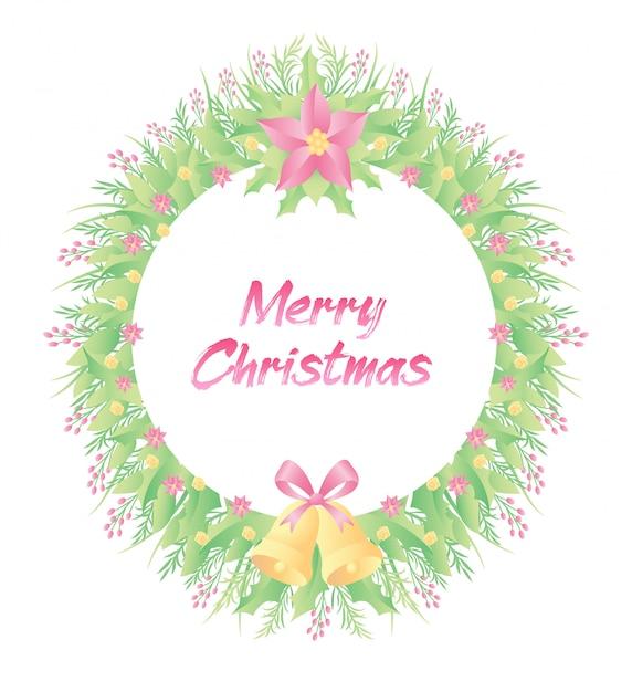 Цветочная рамка красочные цветы, колокольчик и трава с рождеством текст Premium векторы