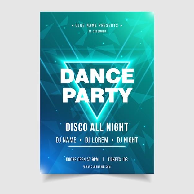 ダンスパーティーナイトミュージックイベントポスターテンプレート Premiumベクター
