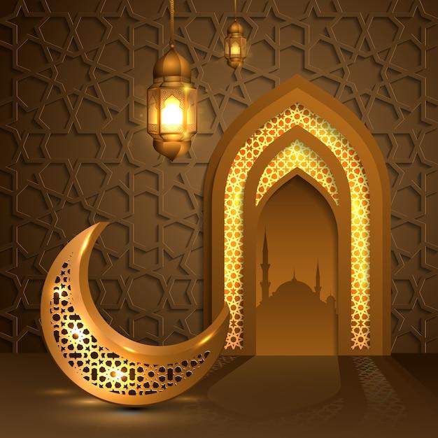 黄金の月とランタン、モスクのドアのイスラムのラマダンカリーム Premiumベクター
