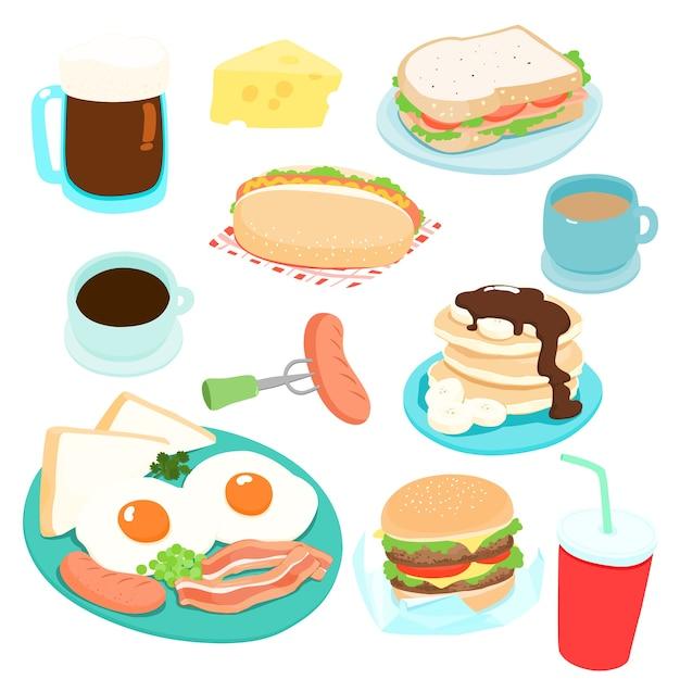 様々な朝食セットベクトルイラスト。新鮮で美味しい。 Premiumベクター