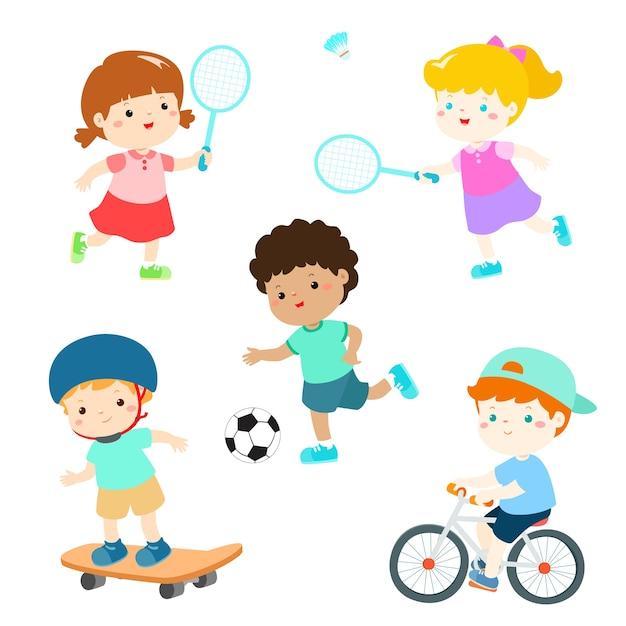 様々なスポーツ活動のベクトル図で子供たち Premiumベクター