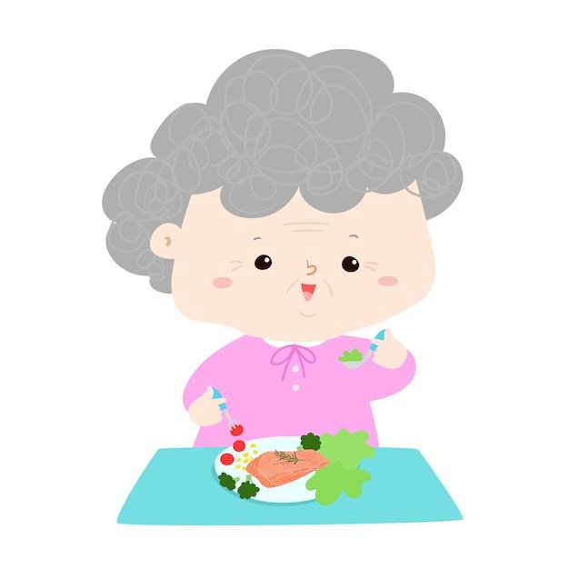 シニア食べる健康食品漫画のベクトル図。祖母食べるフィッシュステーキとサラダ、テーブル、人々のライフスタイルのコンセプト Premiumベクター