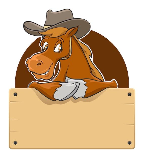 木製ボードと漫画の馬 Premiumベクター