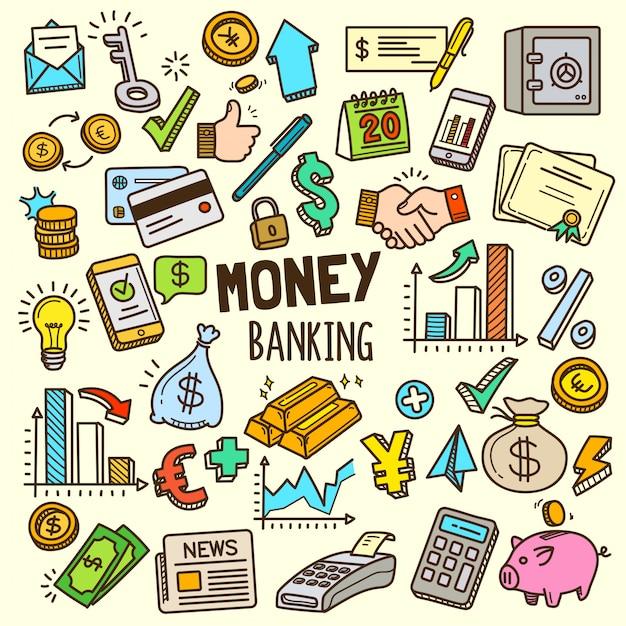 Деньги и банковские элементы иллюстрации Premium векторы