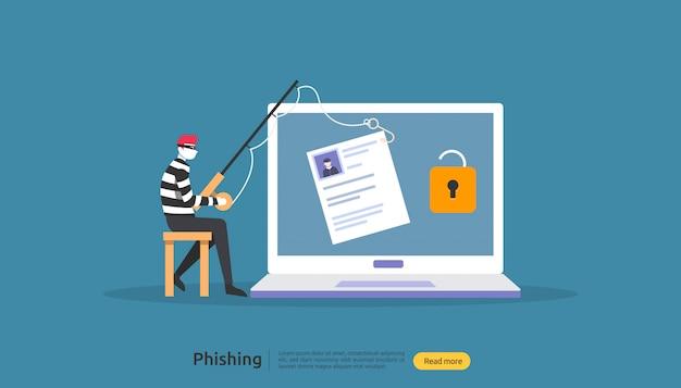 インターネットセキュリティの概念と文字 Premiumベクター