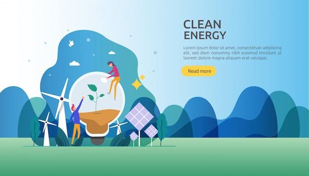Возобновляемые зеленые источники электроэнергии и концепция чистой окружающей среды Premium векторы