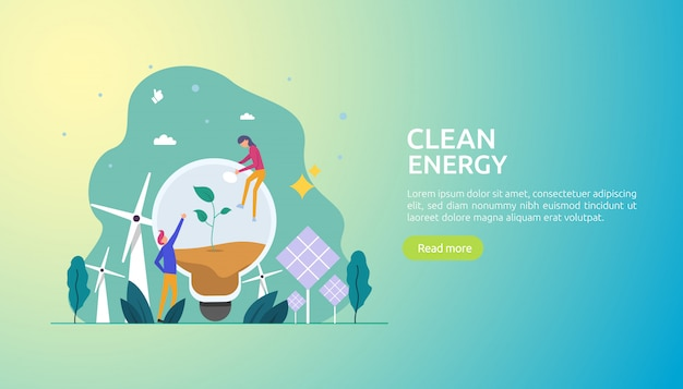 Возобновляемые зеленые источники электроэнергии и чистая окружающая среда Premium векторы