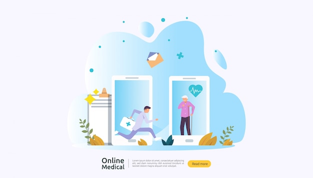 オンライン医療支援アドバイスや人々の文字を持つ医師医療サービスの概念 Premiumベクター
