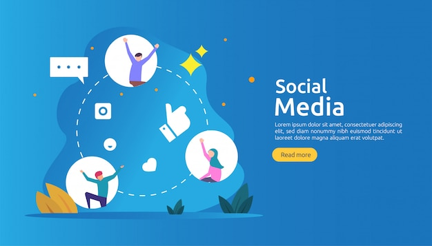 フラットスタイルの若い人たちとソーシャルメディアネットワークとインフルエンサーコンセプト Premiumベクター