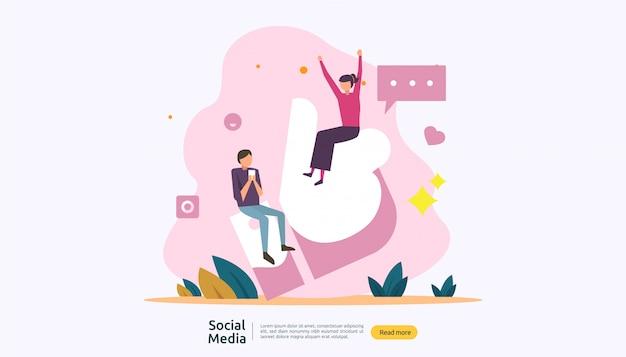 フラットスタイルの若者キャラクターとソーシャルメディアネットワークとインフルエンサーの概念 Premiumベクター
