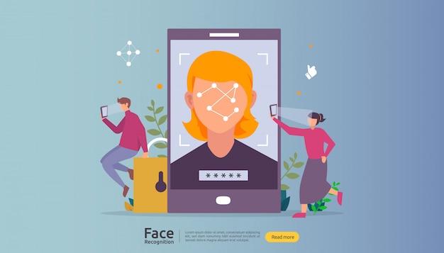 顔認識データのセキュリティ設計。スマートフォンでスキャンする顔認証システム。 Premiumベクター