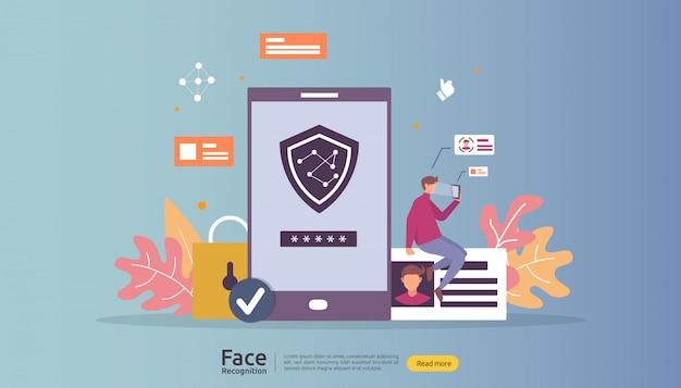 Распознавание лица дизайн данных безопасности. лицевая биометрическая идентификация системы сканирования на смартфоне. Premium векторы
