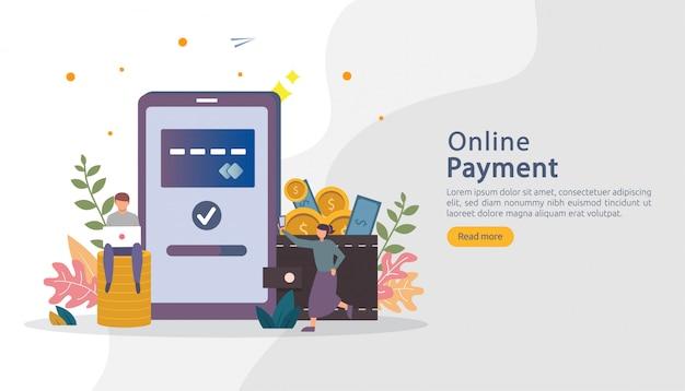 電子商取引市場の小さな人々の性格を持つオンラインイラストをショッピングします。モバイル決済または送金 Premiumベクター