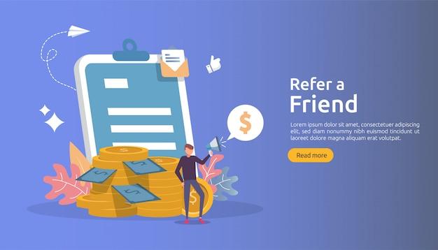アフィリエイトマーケティングのコンセプト。友達戦略を参照してください。人々は紹介のビジネスパートナーシップを共有するメガホンを叫び、お金を稼ぎます。 Premiumベクター