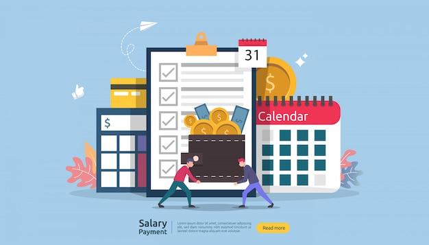 給与収入の概念。給与支払年次ボーナス。紙、電卓、人物のキャラクターによる支払い。 Premiumベクター